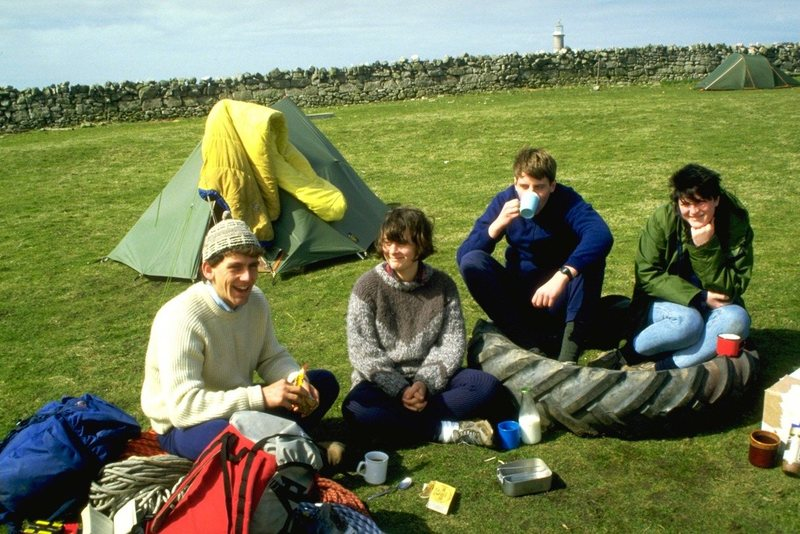 Relaxing with a cup of tea after a days climbing