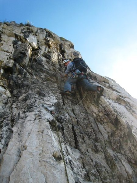 Rock Climbing Photo: A ways off the pitch 1 belay, prior to the travers...