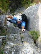 Rock Climbing Photo: Matt finishing up the short chimney leading to the...