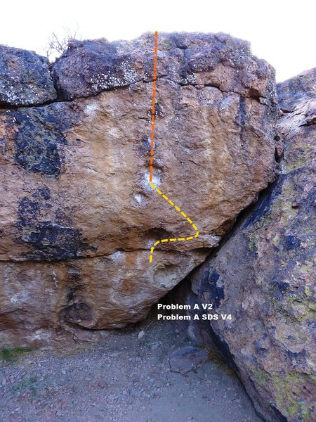 Rock Climbing Photo: Problem A Topo