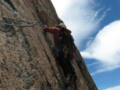 Rock Climbing Photo: Juan leading the initial traverse on the second pi...