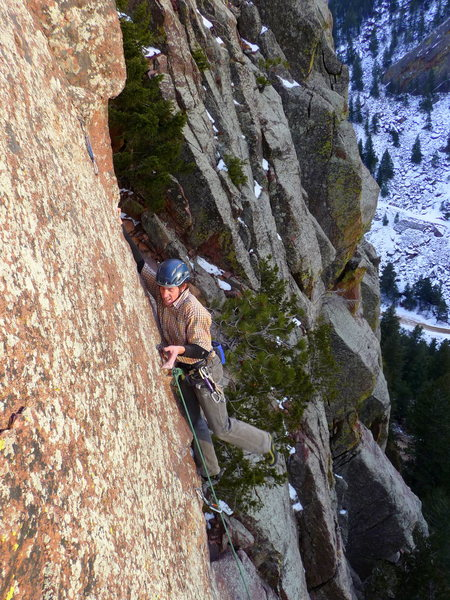 Mid-crux on Iron Pony. There's not much in the way of footholds here. Photo: Lisa Apprill.