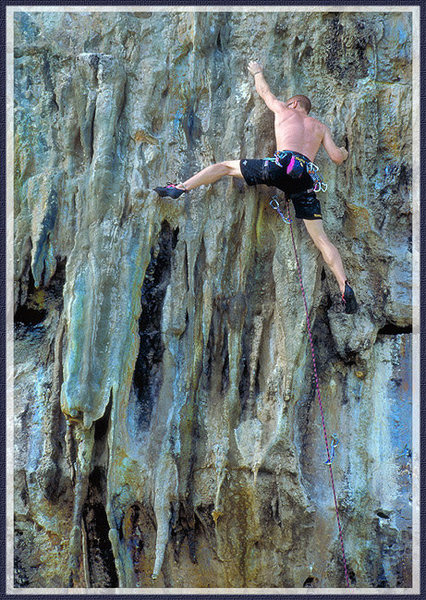 Rock Climbing Photo: Mike Auldrige stretching it out near the top of th...