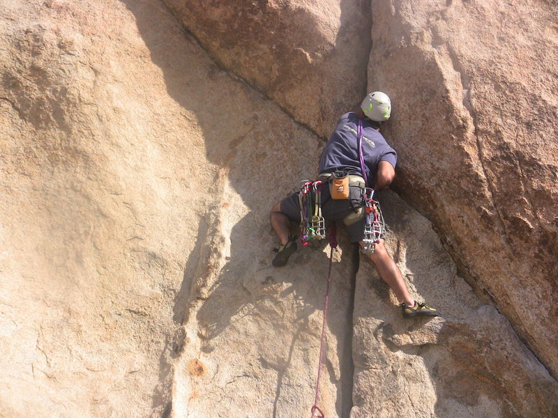 Approaching the crux moves.