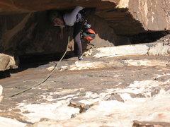 Rock Climbing Photo: Cassondra in the chimney on P2. 20100213.