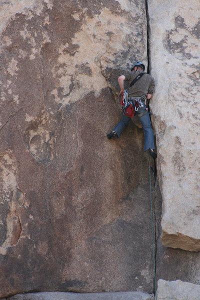 Rock Climbing Photo: Dan on Nurn's Romp 5.8 - Hall of Horrors 2-13-10