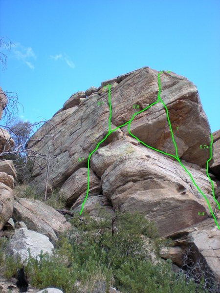 Rock Climbing Photo: Routes on the Dirty Diaper