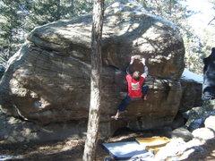 Rock Climbing Photo: Misha warming up.
