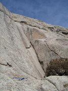 Rock Climbing Photo: P2 of Jetstream climbs a flake into the super-thin...