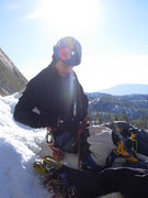 Rock Climbing Photo: Top of pitch one was a snow ledge.  I'm already cu...