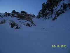 Rock Climbing Photo: We turned left from the main couloir here up a lit...