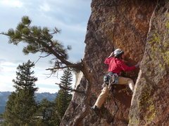 Rock Climbing Photo: Lisa starting up P2 of Pony Express.