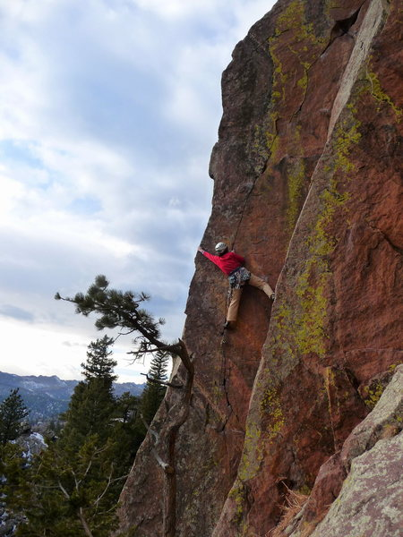 Lisa hitting the arete on Pony Express.
