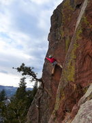 Rock Climbing Photo: Lisa hitting the arete on Pony Express.
