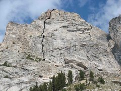Rock Climbing Photo: Route overview with belays marked. Photo taken fro...