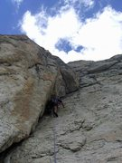 Rock Climbing Photo: The clean hand/fist corner of pitch 3.