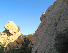 Rock Climbing Photo: William Leventhal on the Roof Route 5.10a at the C...