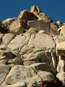 Rock Climbing Photo: The route, majorly foreshortened. Starts in the ri...