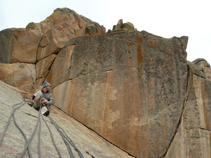 Rock Climbing Photo: Mid-route belay. Pitch 2 above Nate's head.