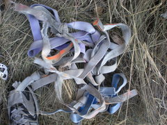 Rock Climbing Photo: The ancient webbing that we cleaned off the rap an...