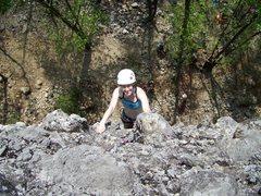 Rock Climbing Photo: Kat pullin' the pebbles at Al Bawi.