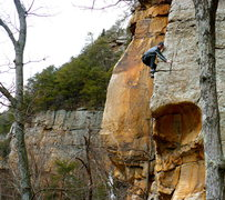 Rock Climbing Photo: Darrell working the arete on Changnurdle, T-Wall.