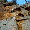 Scott climbing Love Handle, T-Wall.