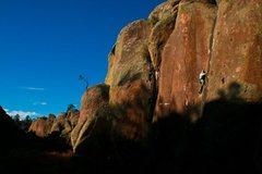 Rock Climbing Photo: Matt LaChapelle squeezes in a run up Whipping Post...