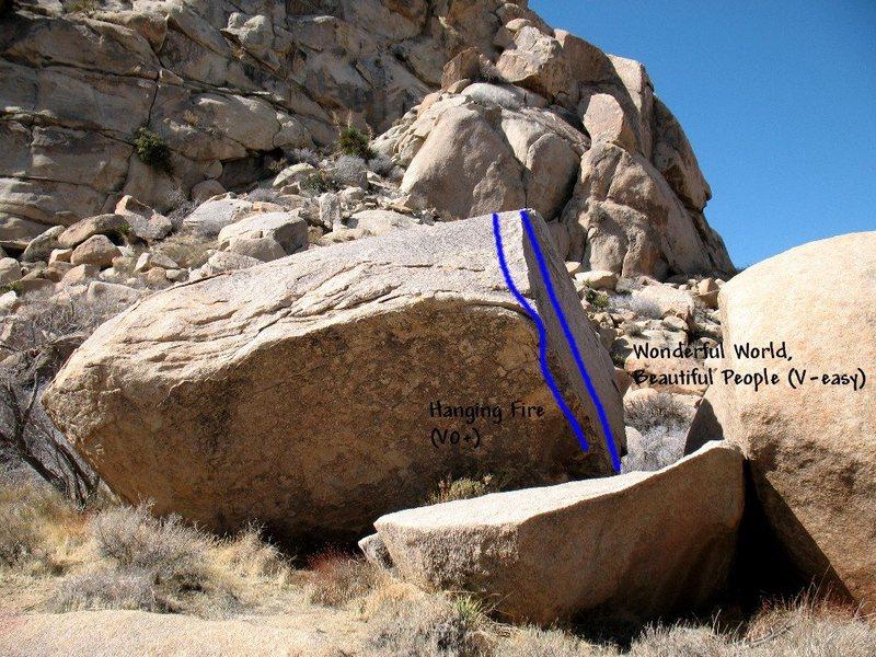 Photo/topo for Jimmy Cliff Boulder (NE Face), Joshua Tree NP