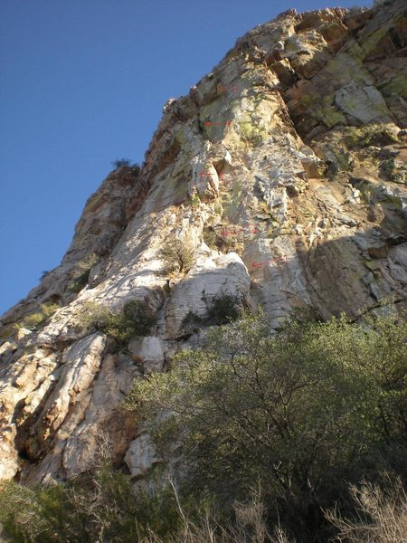 Rock Climbing Photo: Photo of route with the following features marked:...