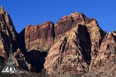 Rock Climbing Photo: The Armatron route from a distance. Also shown eif...