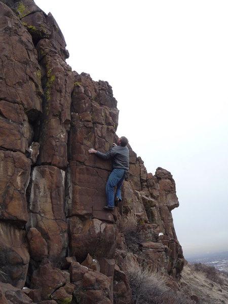 Rock Climbing Photo: Not a Highball, but a little hairball.