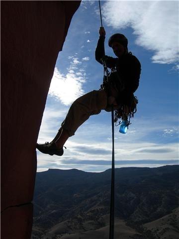 Rock Climbing Photo: John Sasso rapping off summit. Photo by: Thomas Ha...