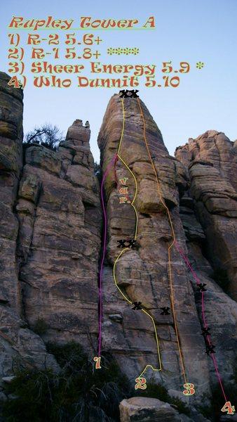 Rock Climbing Photo: Rupley Tower A topo