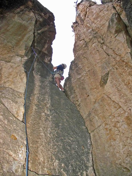 Rock Climbing Photo: Moving onto the arete after the lower crux crack.