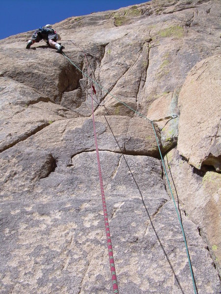 Jeff M. moving through the crux 1st pitch.
