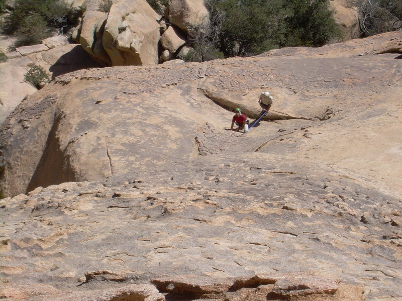 Looking down on 1st belay from 2nd belay.