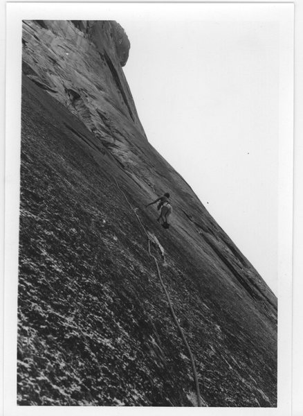 Leading a climb on Glacier Point Apron, 70s,  I don't remember which route.