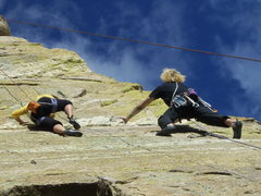 Rock Climbing Photo: finishing after he took a nasty whipper.....my ons...