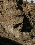 Rock Climbing Photo: Sam above the crux on his send.