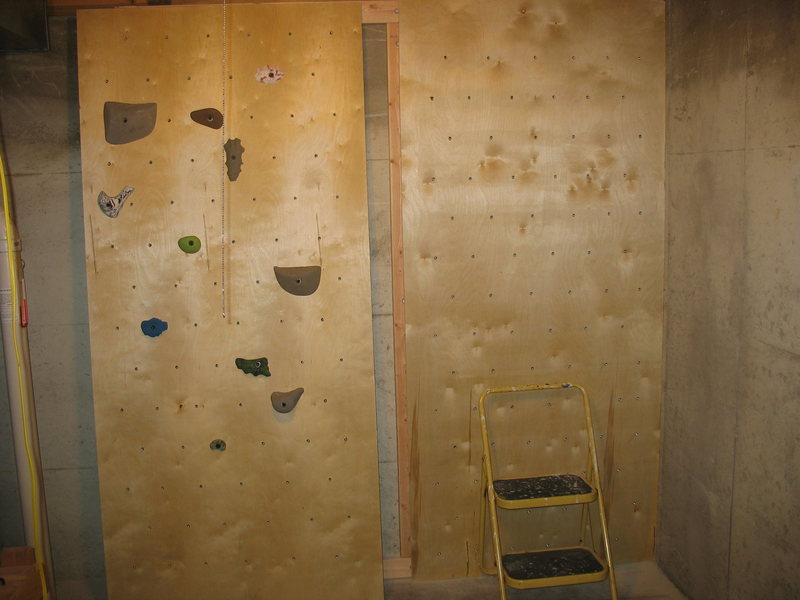 Rock Climbing Photo: both panels ready to be bolted to the 2x4's