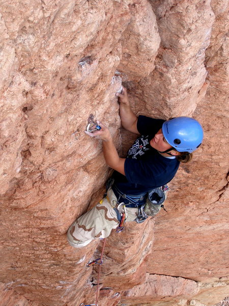 Rock Climbing Photo: Sarah about to clip.