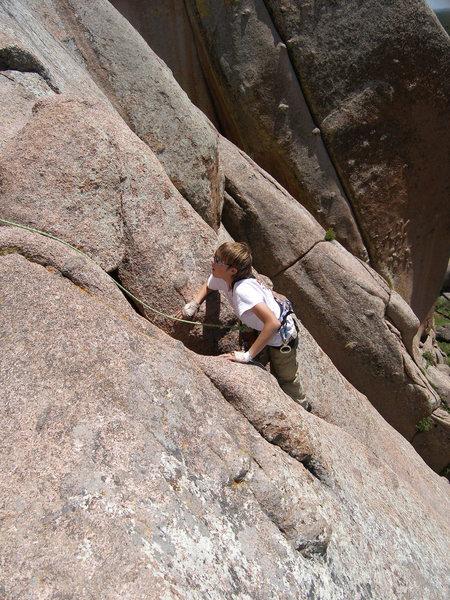 Rock Climbing Photo: Walking up the crack