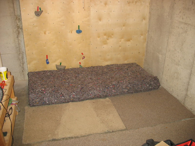 the floor of our wall, complete with old mattress as crashpad.