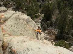 Rock Climbing Photo: Jim Belcer waking the flake on the FA. 2-4-2006.