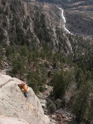 Rock Climbing Photo: Jim Belcer finishing the flake with the Big T spra...