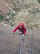Rock Climbing Photo: Holly on the crux pitch of birdland (P5?)