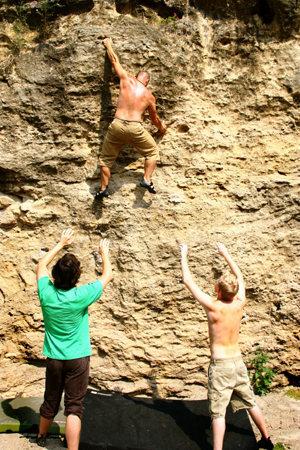 Rock Climbing Photo: Bouldering on the Damn Wall at Pallisades Kepler S...
