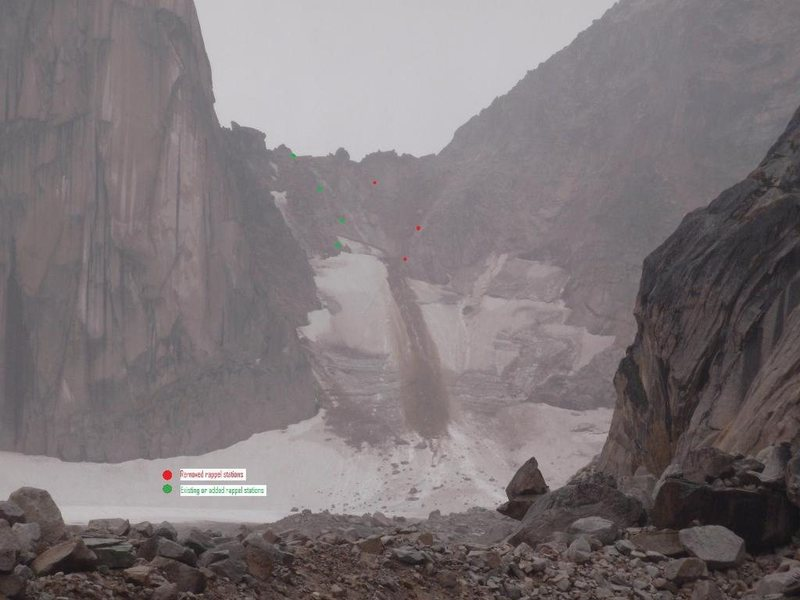 "Copied from MCR Reports (Association of Canadian Mountain Guides)<br> <br> http://acmg.ca/mcr/archives.asp <br> <br> ""The following is a report from Tay Hanson, Senior Park Ranger for BC Parks.  A major rockfall event occured yesterday that originated from above the climber's right side of the col.  Coincidently, the old raps stations on that side of the col had been removed the previous day because of rockfall concerns.  Also note that a new toilet was installed at Applebee to relieve the morning line-ups!<br>  <br> Rain initiated rock and mud slide on 090711 at approx 0900 hrs.<br>  <br> All rappel stations have been removed from the climbers' right hand side of the col. This rap route was established during a time when snow and ice covered the scree slope but currently presents an unacceptable rock fall hazard to climbers lower on the col. <br>  <br> Two chain stations have been added to the rap route on climbers' left allowing for 3-4 30m rappels over the bergschrund, or more safely, 1 double rope rappel to below the rock island and then another to well below the bergschrund.<br>  <br> As you can see, the col is in disastrous condition and is best avoided.<br>  <br> Also included is a pic of Applebee's new rock toilet.<br>  <br> Jeff Volp<br> ACMG/BC Parks""<br> <br>"