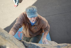 Rock Climbing Photo: Bill coming up the boulders on the main road